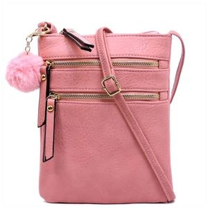 Pink Multi Zip Crossbody Bag with Pompom Keychain